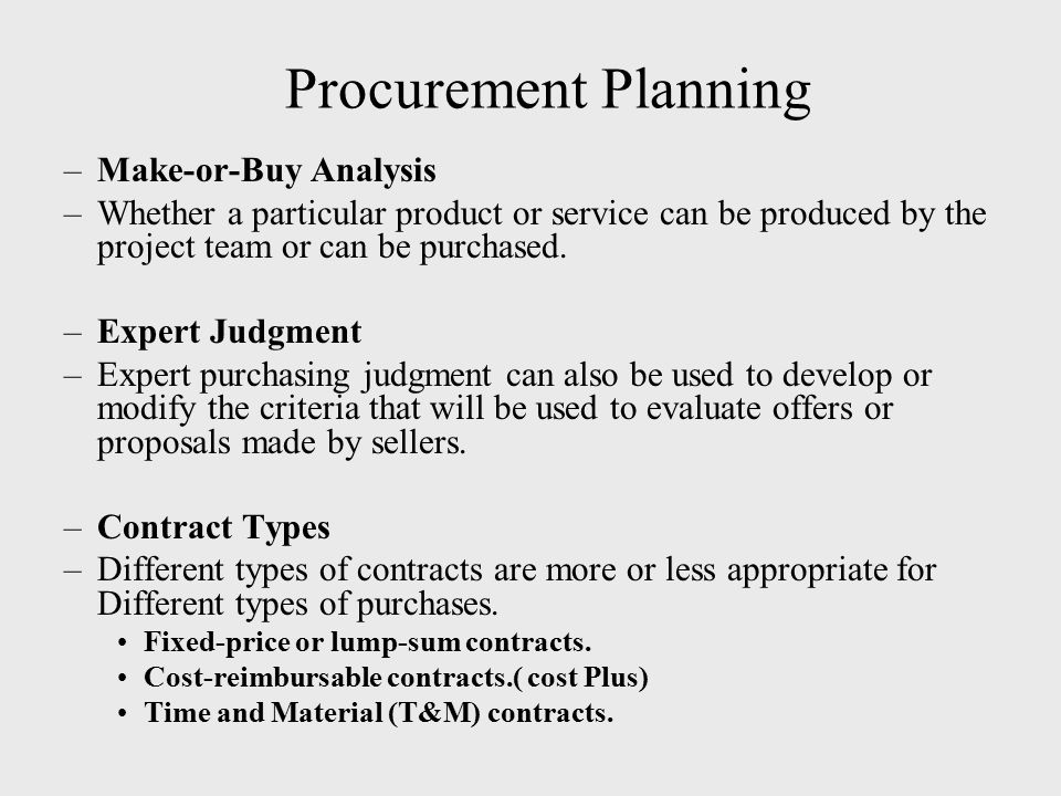 Procurement Planning Make-or-Buy Analysis