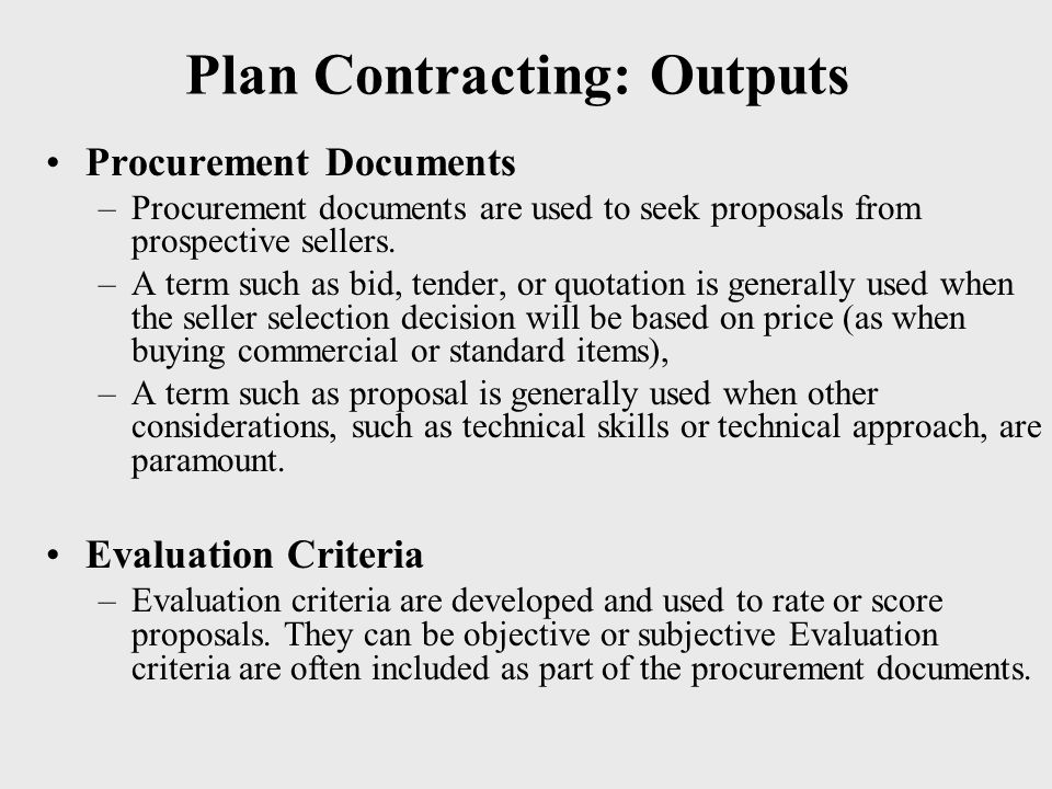 Plan Contracting: Outputs