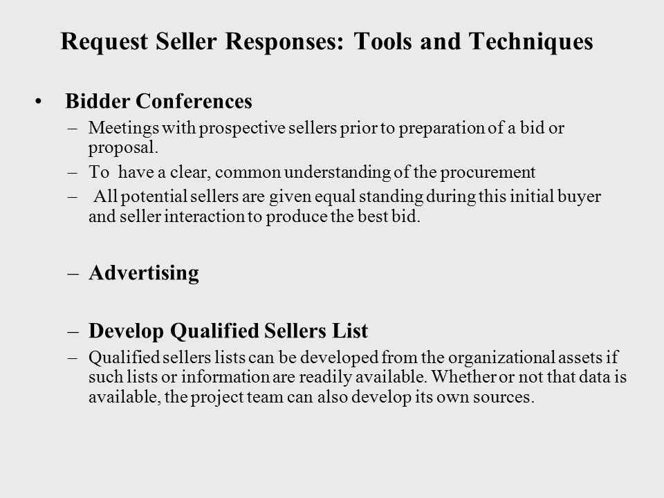 Request Seller Responses: Tools and Techniques