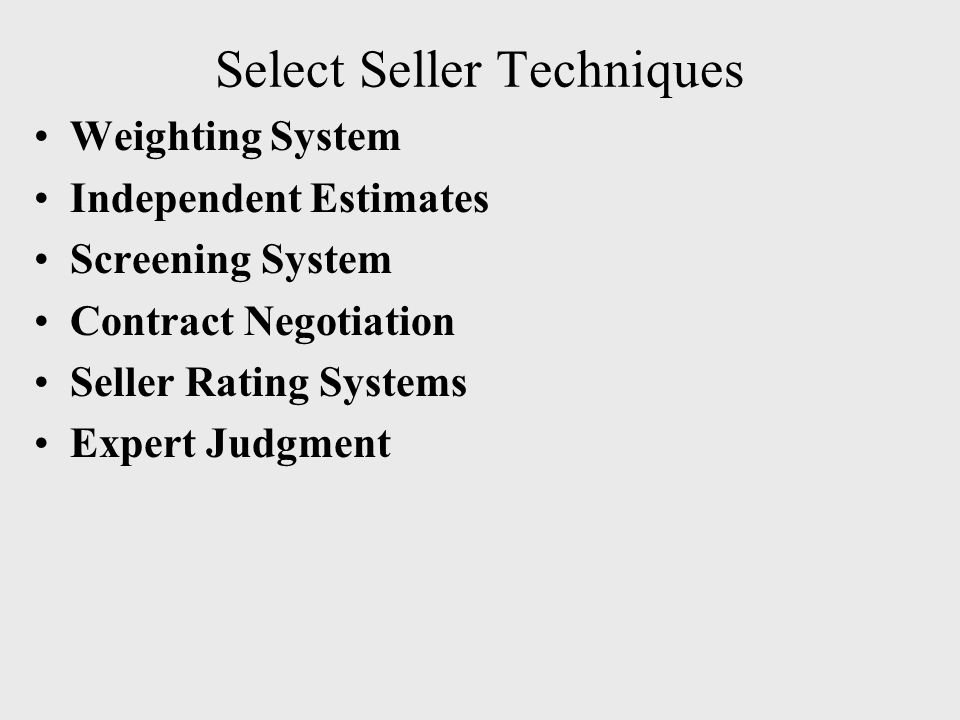Select Seller Techniques