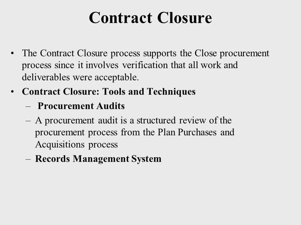 Contract Closure