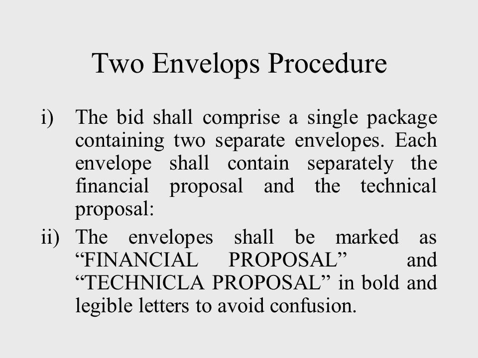 Two Envelops Procedure