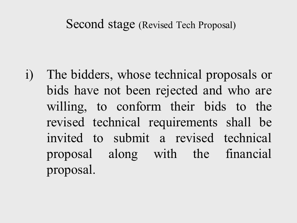 Second stage (Revised Tech Proposal)