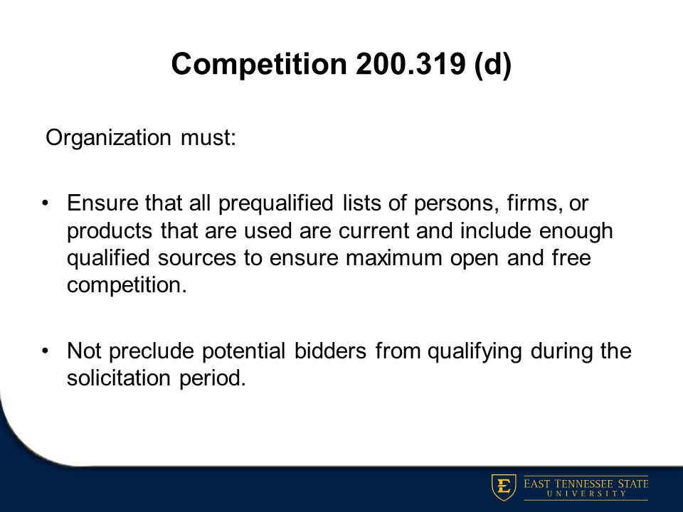 Competition 200.319 (d) Organization must: