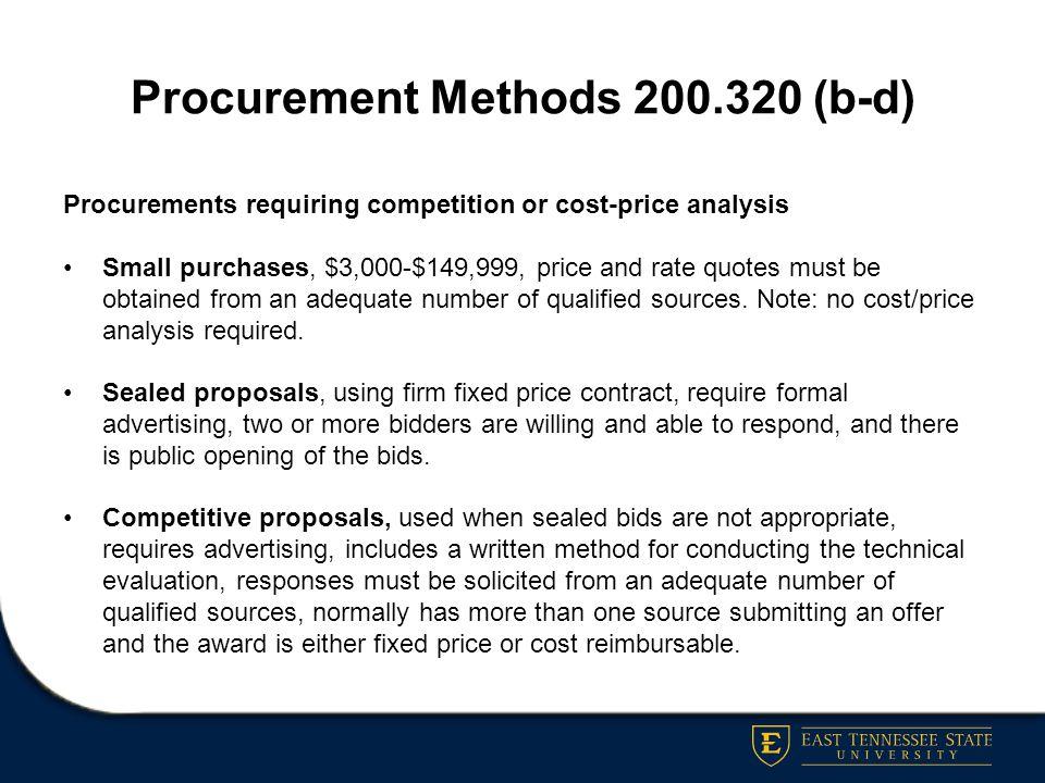 Procurement Methods 200.320 (b-d)