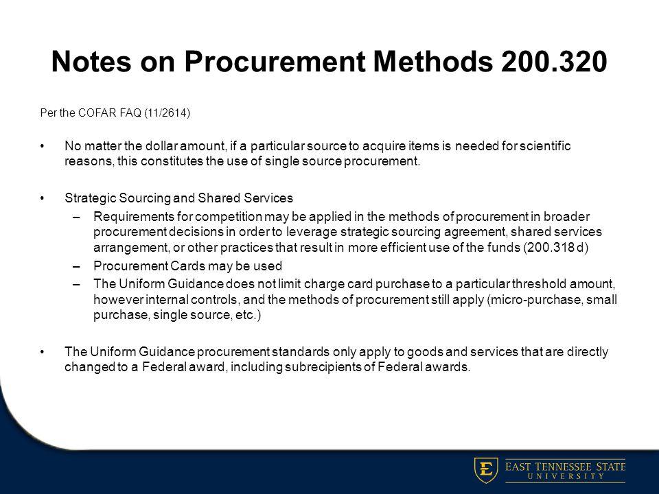 Notes on Procurement Methods 200.320