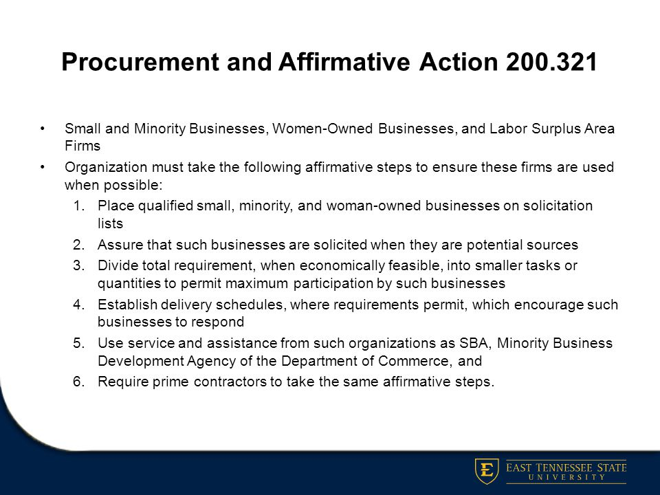 Procurement and Affirmative Action 200.321