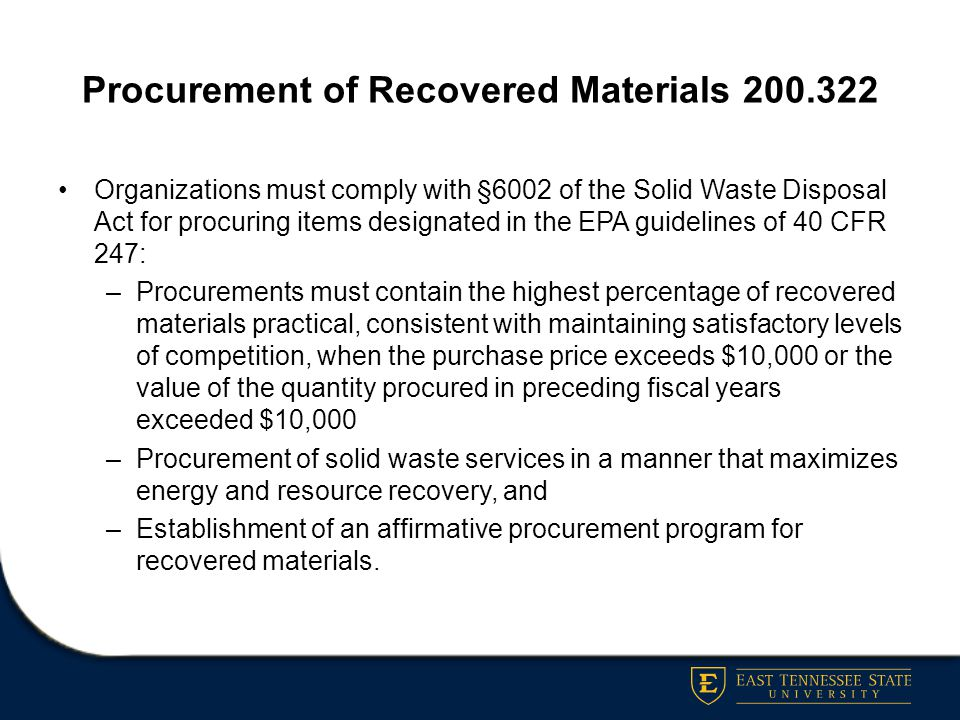 Procurement of Recovered Materials 200.322