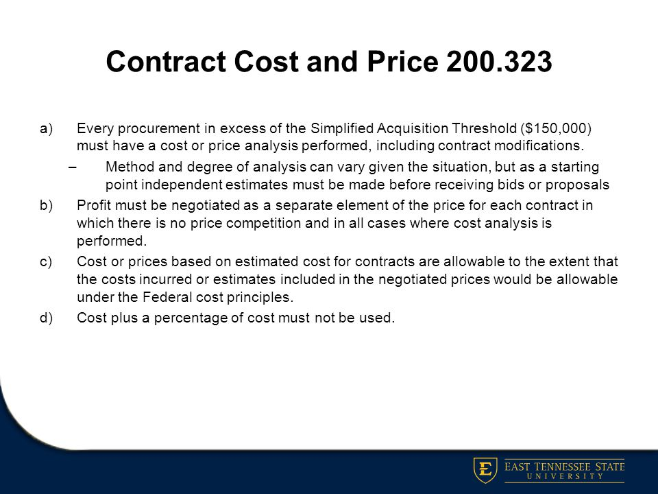 Contract Cost and Price 200.323