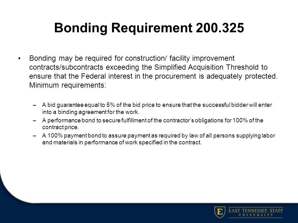 Bonding Requirement 200.325