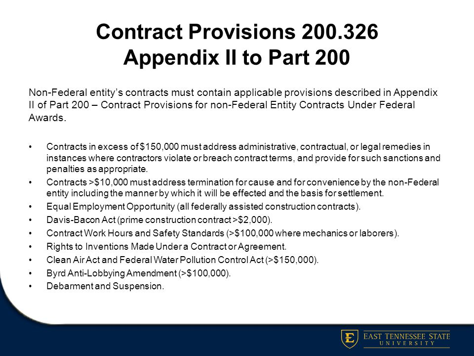 Contract Provisions 200.326 Appendix II to Part 200