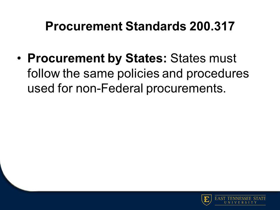 Procurement Standards 200.317