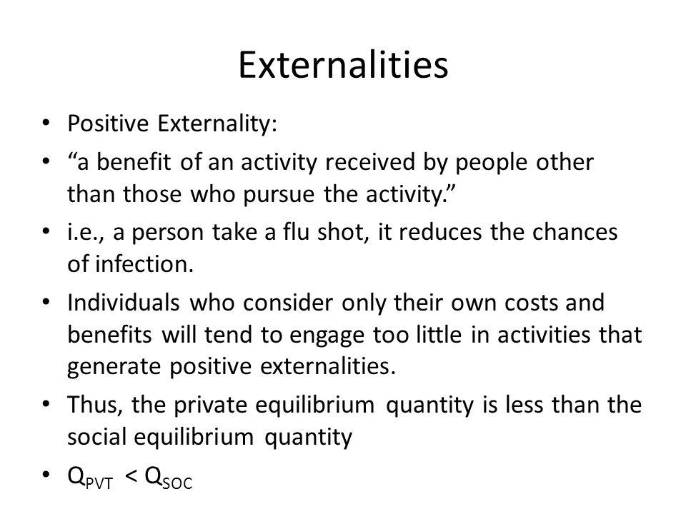 Externalities Positive Externality: