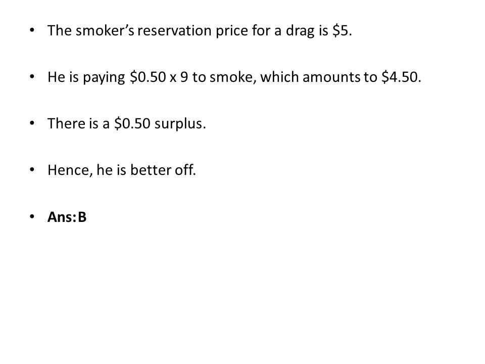 The smoker's reservation price for a drag is $5.
