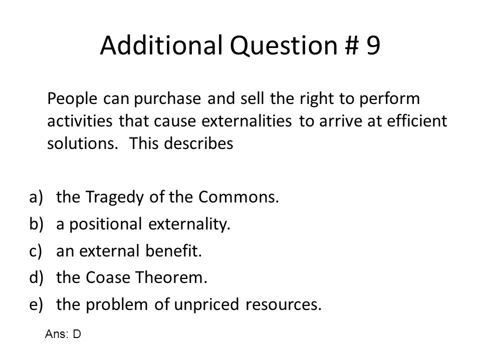 Additional Question # 9
