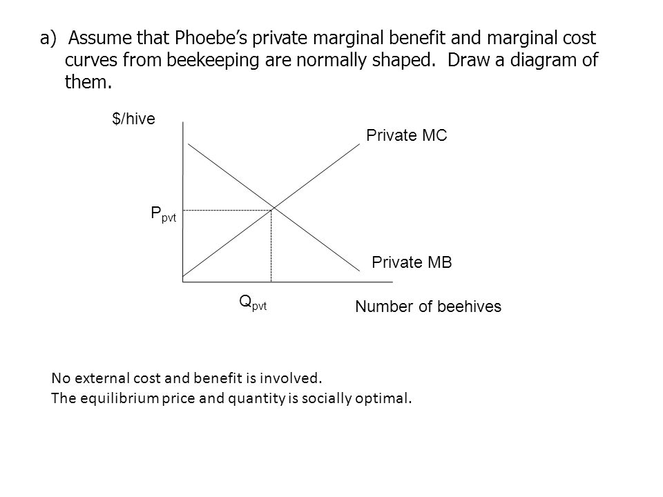 a) Assume that Phoebe's private marginal benefit and marginal cost curves from beekeeping are normally shaped. Draw a diagram of them.