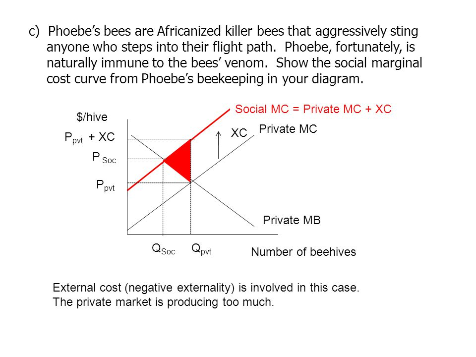 c) Phoebe's bees are Africanized killer bees that aggressively sting anyone who steps into their flight path. Phoebe, fortunately, is naturally immune to the bees' venom. Show the social marginal cost curve from Phoebe's beekeeping in your diagram.