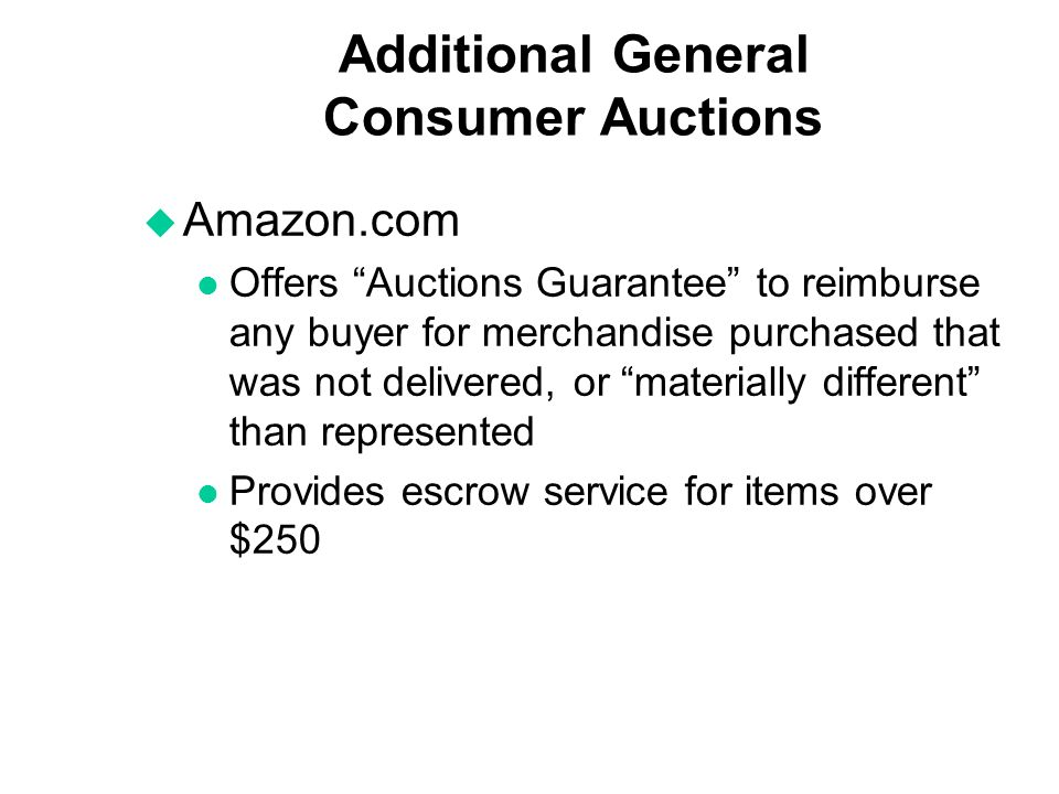 Additional General Consumer Auctions