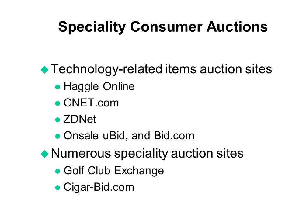 Speciality Consumer Auctions