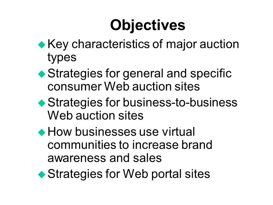 Objectives Key characteristics of major auction types