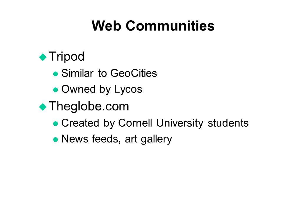 Web Communities Tripod Theglobe.com Similar to GeoCities