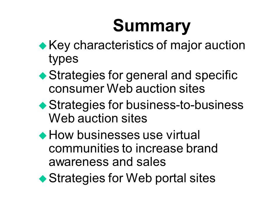 Summary Key characteristics of major auction types