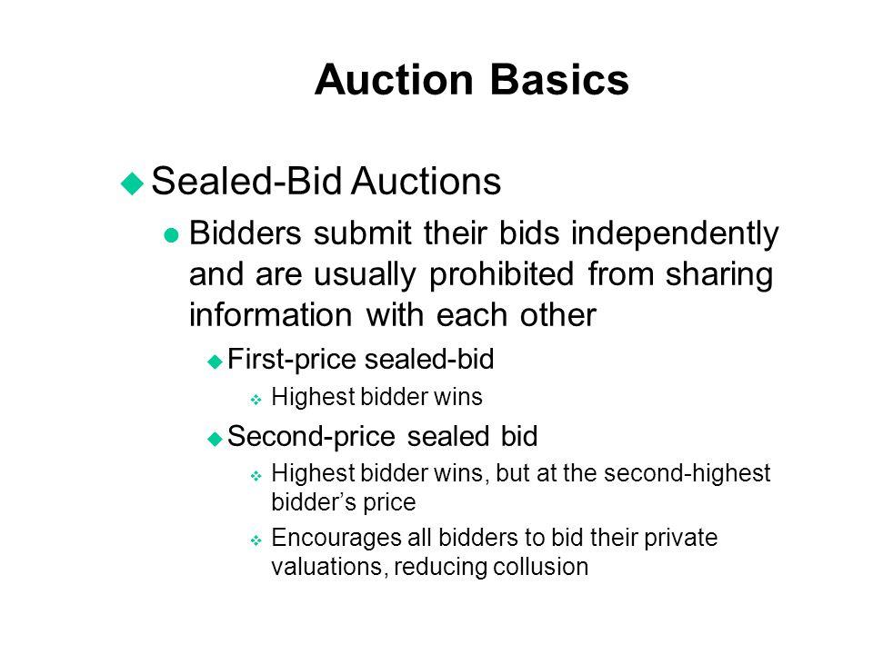 Auction Basics Sealed-Bid Auctions