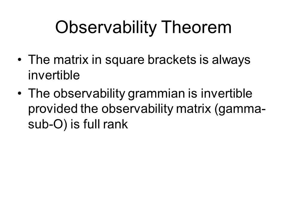 Observability Theorem