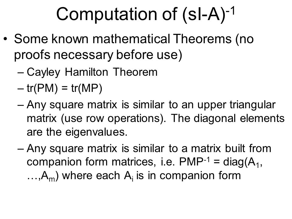 Computation of (sI-A)-1