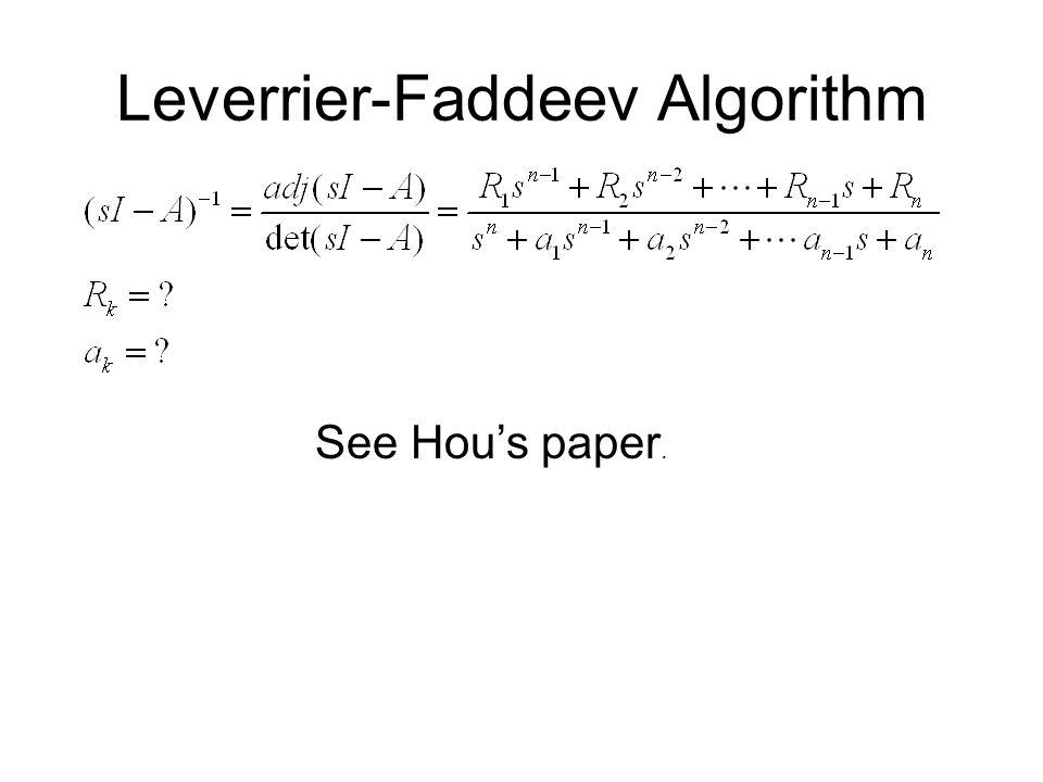 Leverrier-Faddeev Algorithm