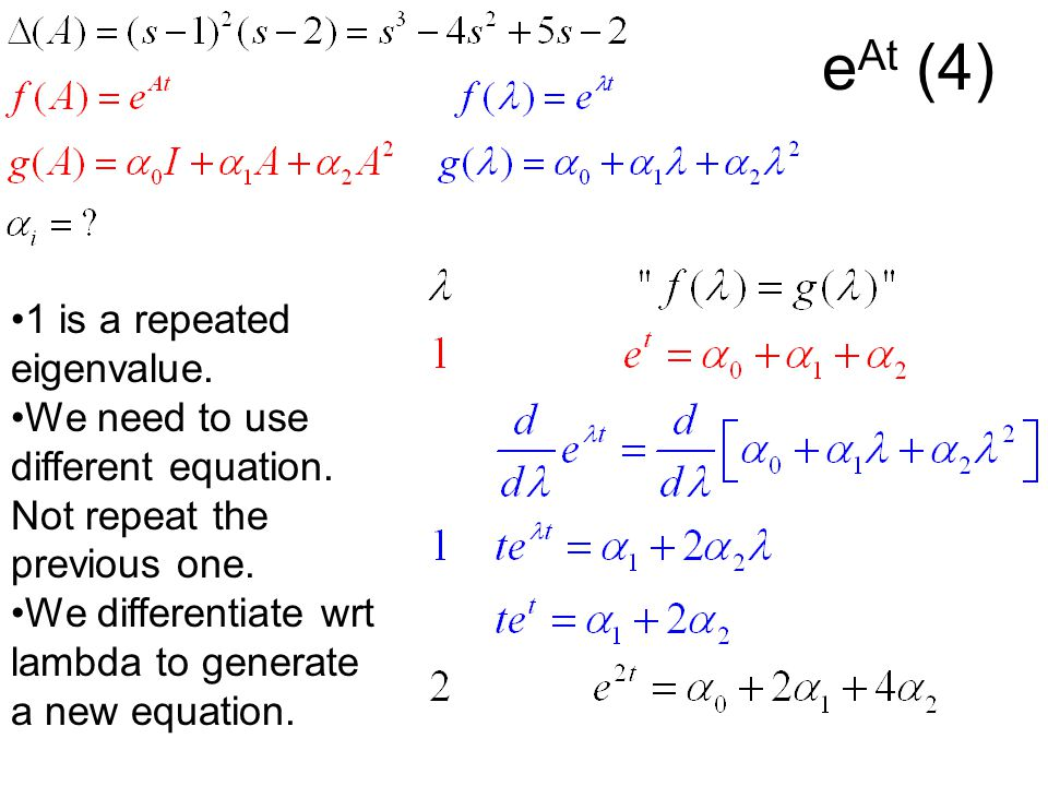 eAt (4) 1 is a repeated eigenvalue.