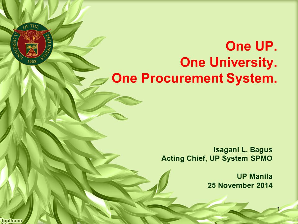 One UP. One University. One Procurement System.