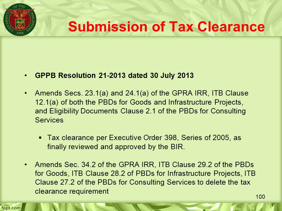 Submission of Tax Clearance