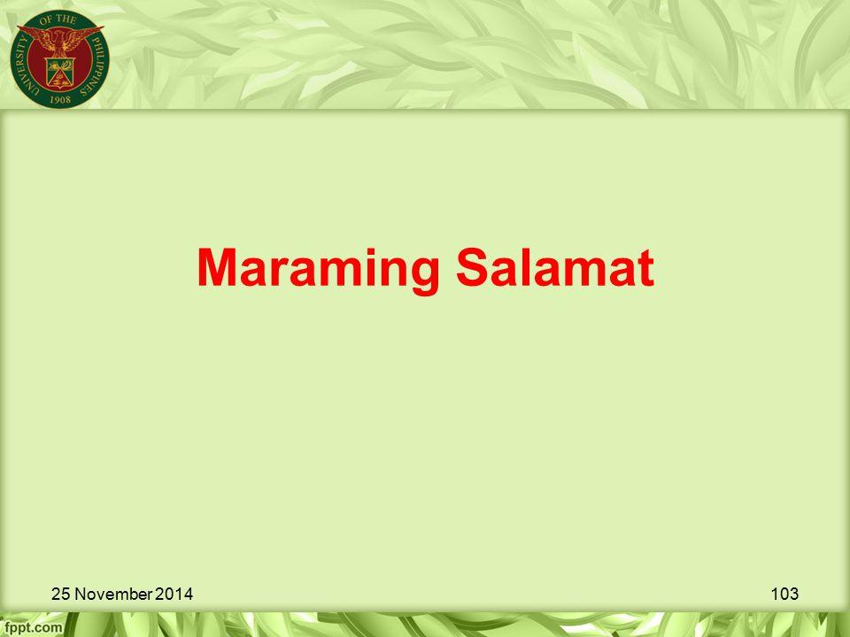 Maraming Salamat 25 November 2014