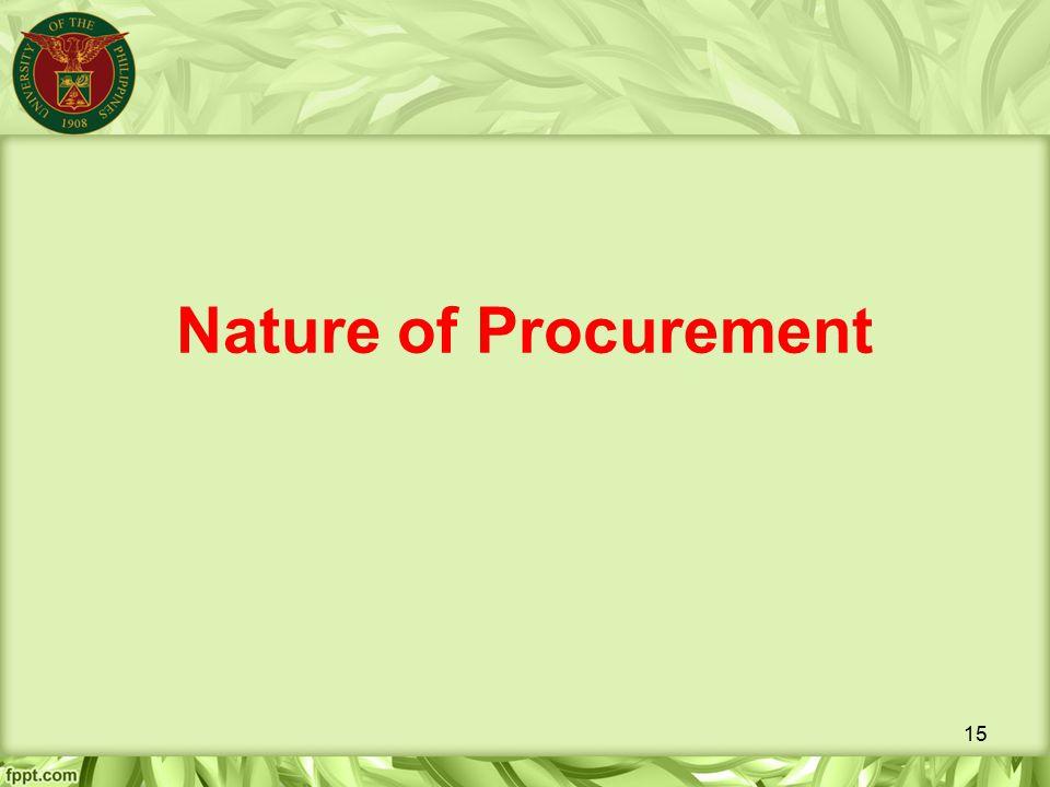 Nature of Procurement