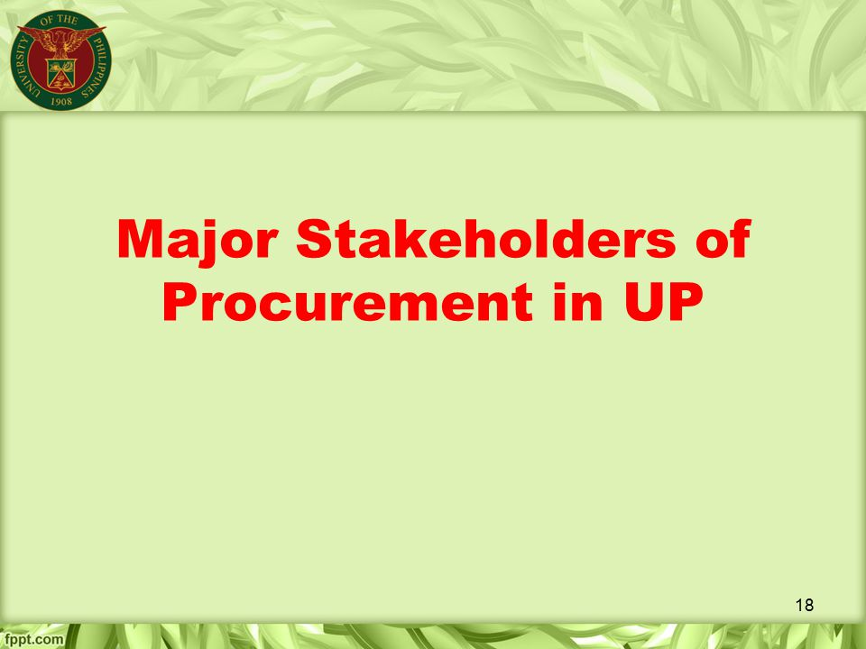 Major Stakeholders of Procurement in UP