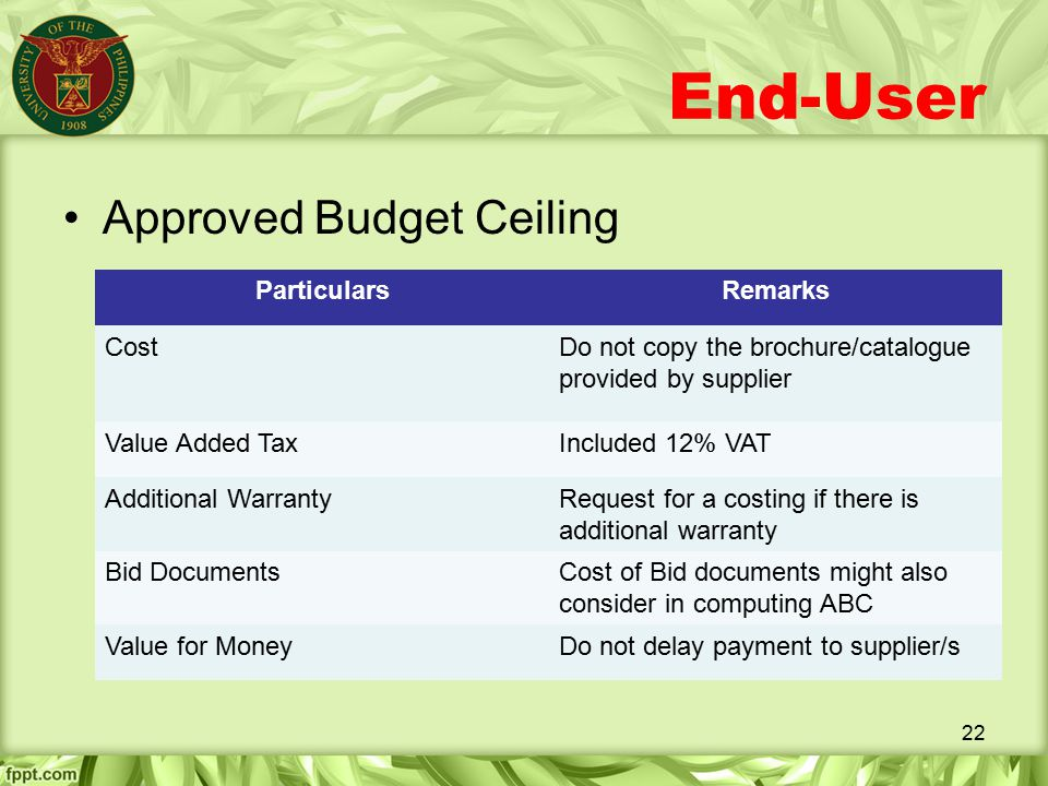 End-User Approved Budget Ceiling Particulars Remarks Cost