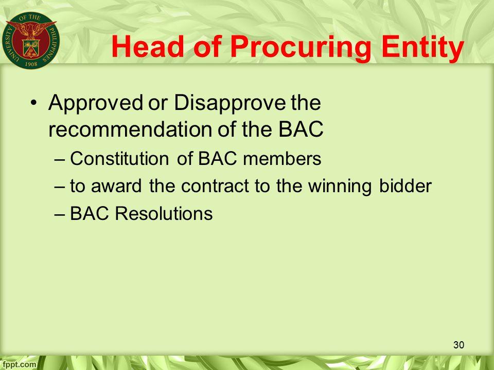 Head of Procuring Entity