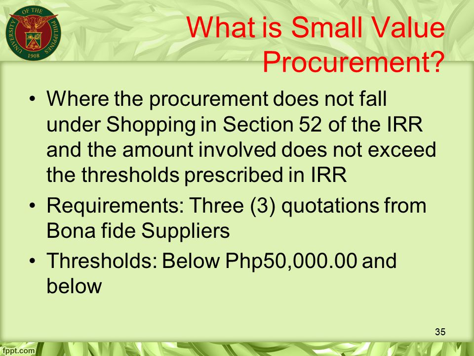 What is Small Value Procurement