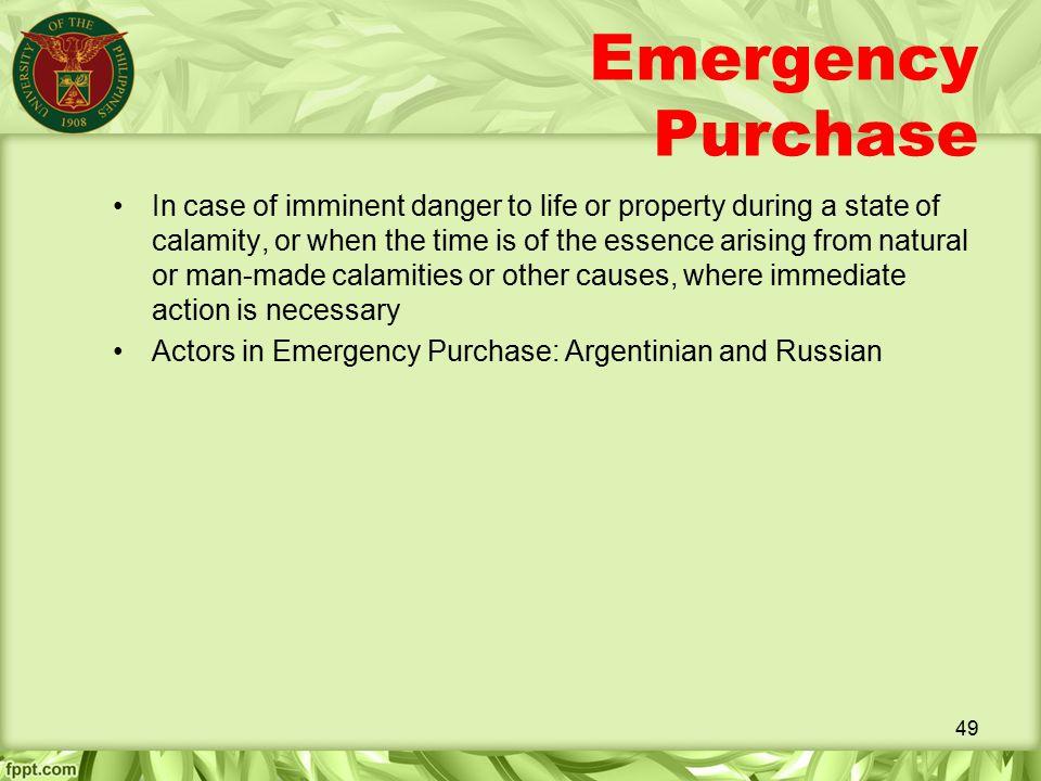 Emergency Purchase