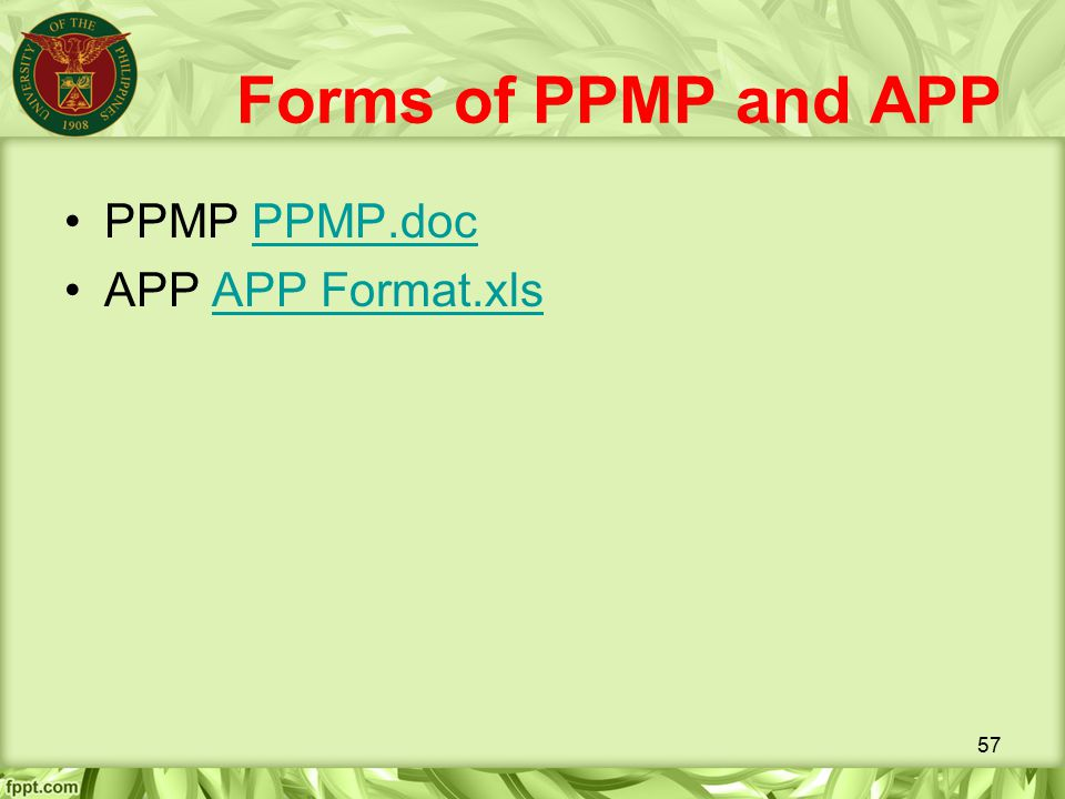 Forms of PPMP and APP PPMP PPMP.doc APP APP Format.xls