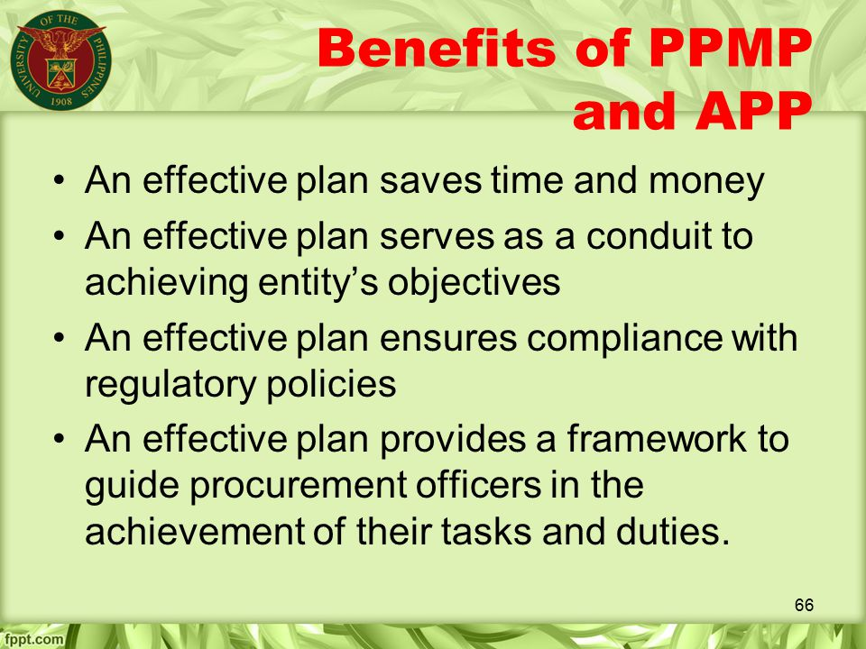 Benefits of PPMP and APP