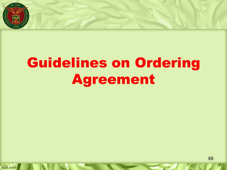Guidelines on Ordering Agreement