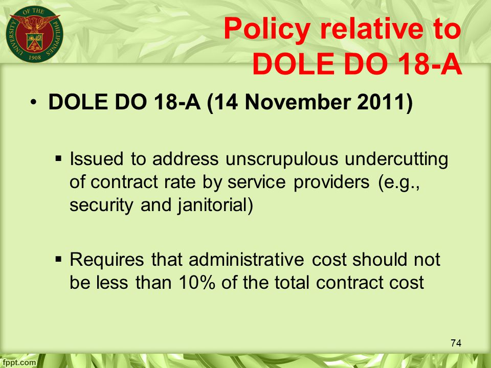 Policy relative to DOLE DO 18-A