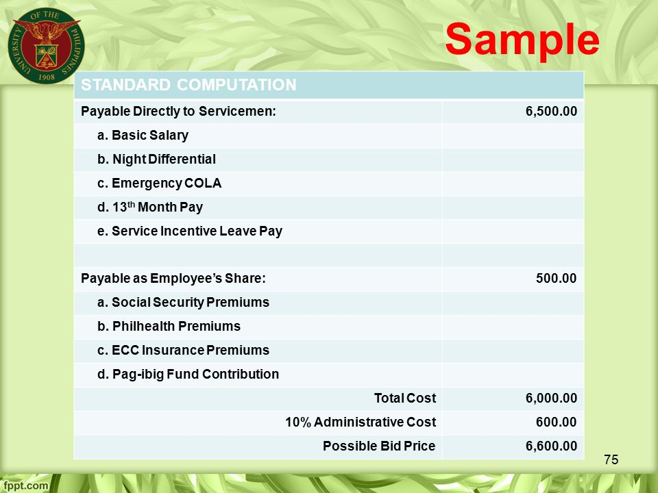 Sample STANDARD COMPUTATION Payable Directly to Servicemen: 6,500.00