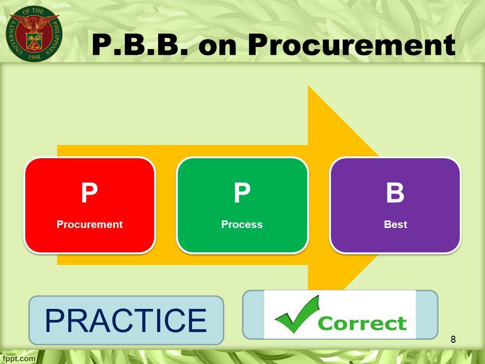 P.B.B. on Procurement P Procurement Process B Best PRACTICE