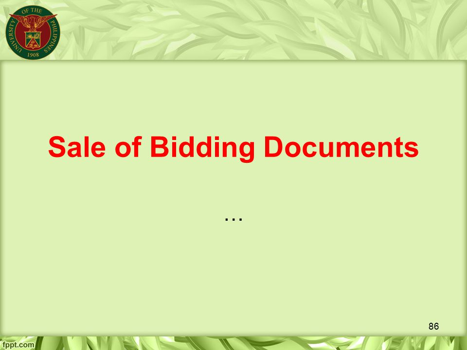 Sale of Bidding Documents