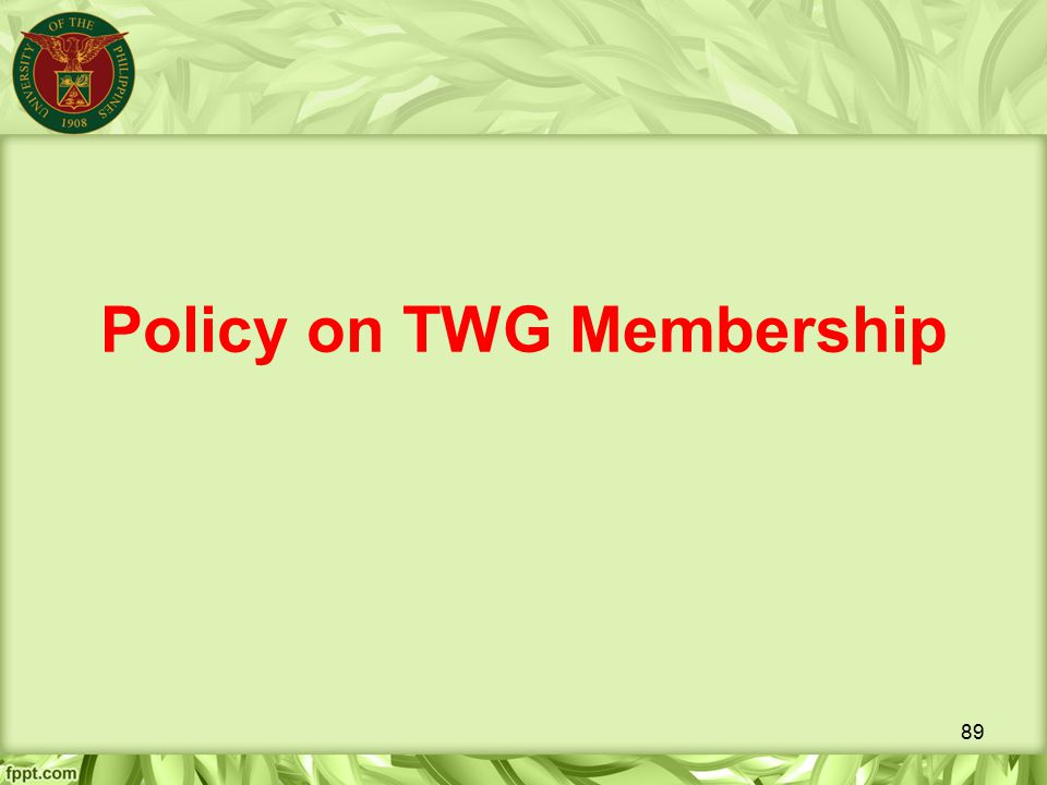 Policy on TWG Membership