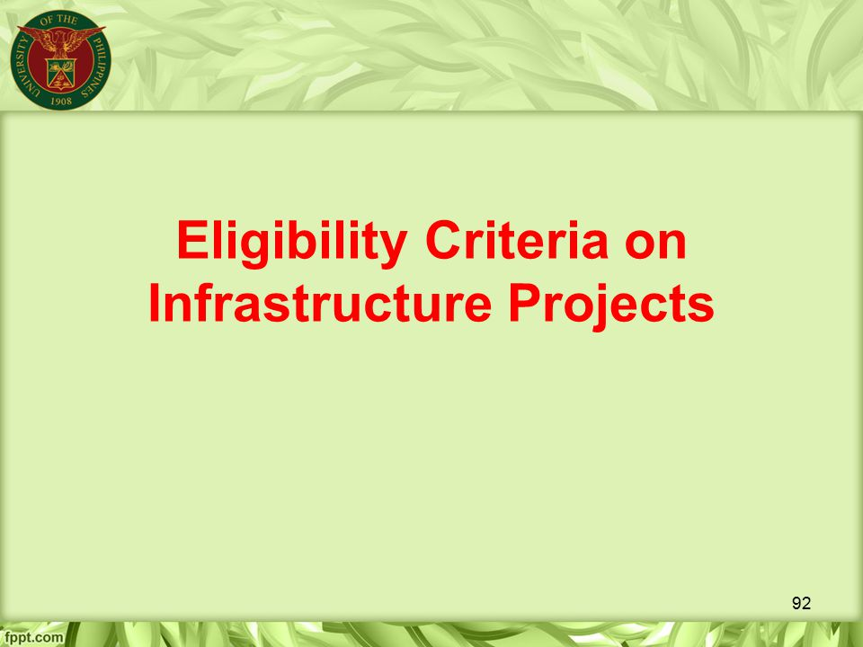Eligibility Criteria on Infrastructure Projects