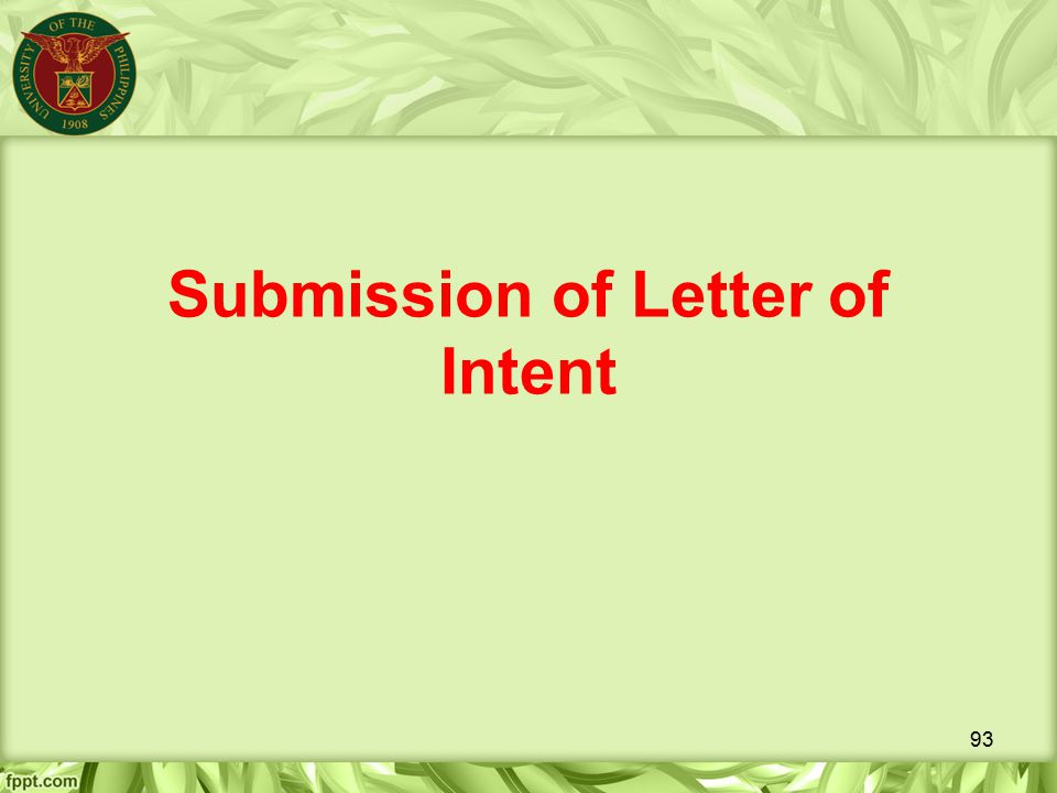 Submission of Letter of Intent